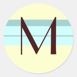 Monogram Wedding Envelope Seal Brown ivory Blue Round Sticker