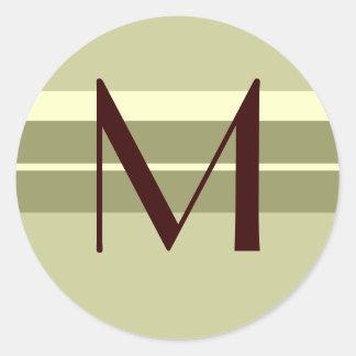 Monogram Wedding Envelope Seal Brown ivory Green Classic Round Sticker
