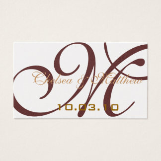 Monogram Wedding Favor Hang Tags Business Card