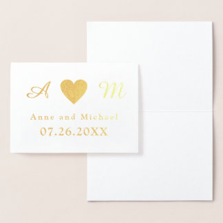 monogram wedding foil card