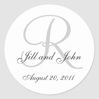 Monogram Wedding Initial Bride Groom Seal Sticker