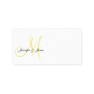 Monogram Wedding Invitation Address Labels Yellow