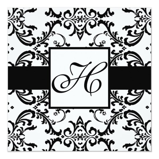 Monogram Wedding Invitation Black Swirl Damask
