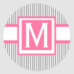 Monogram Wedding  Invitation Sticker Black Stripes
