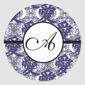 Monogram Wedding Kanji for Love Blue Damask Round Sticker