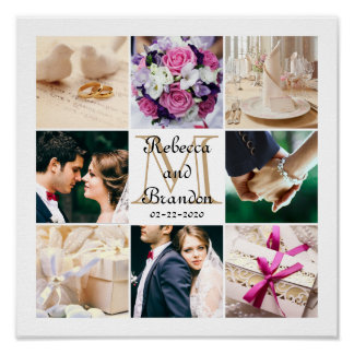 Monogram Wedding Modern Customizable Photo Collage Poster