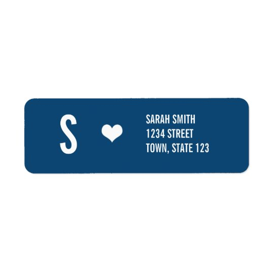 Monogram Wedding Navy Address Labels