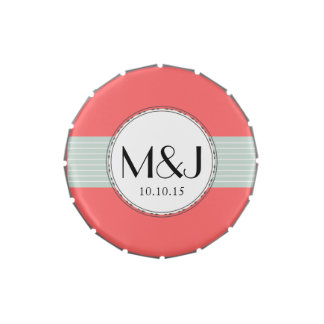 Monogram Wedding Party Favors Candy Tins