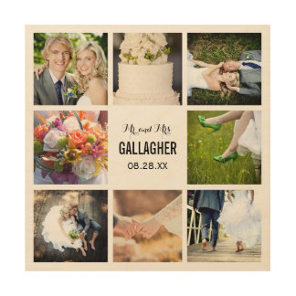 Monogram Wedding Photo Collage Print on Wood