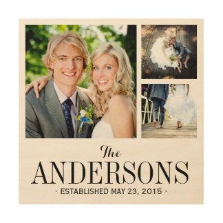 Monogram Wedding Photo Collage Print on Wood Wood Canvases