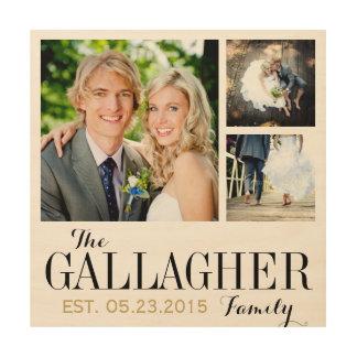 Monogram Wedding Photo Collage Print on Wood Wood Prints