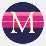 Monogram Wedding Pink Navy Ivory Envelope Sticker