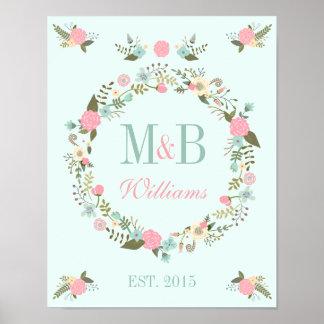 Monogram wedding poster print Mint wedding