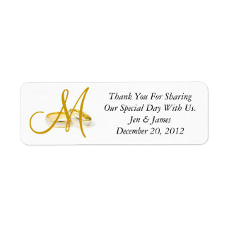 Monogram Wedding Rings Thank You Labels Gold