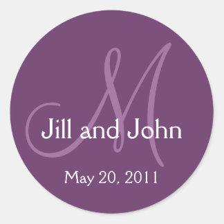 Monogram Wedding Save the Date Purple Sticker