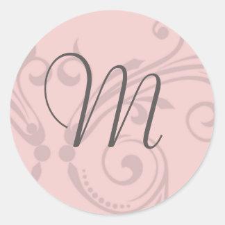 Monogram Wedding Stamp Classic Round Sticker
