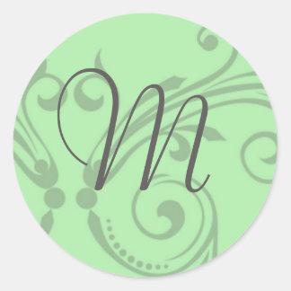 Monogram Wedding Stamp Round Sticker