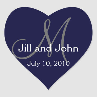 Monogram Wedding Sticker Navy