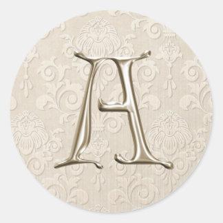 Monogram Wedding Stickers - letter A