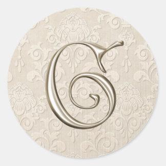 Monogram Wedding Stickers - letter G