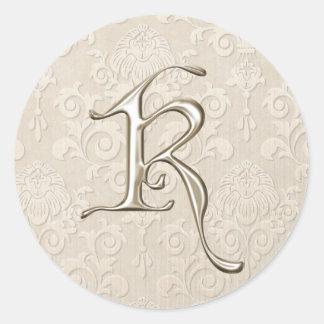 Monogram Wedding Stickers - letter K