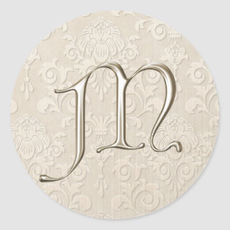 Monogram Wedding Stickers - letter M