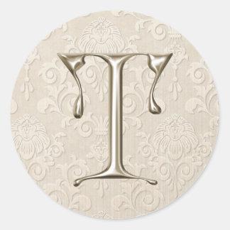 Monogram Wedding Stickers - letter T