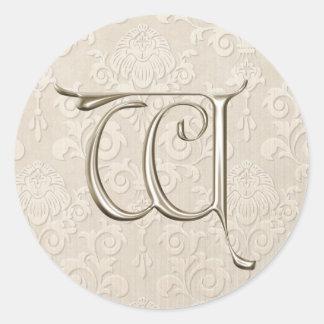 Monogram Wedding Stickers - letter W