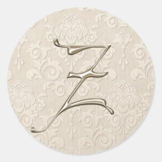 Monogram Wedding Stickers - letter Z