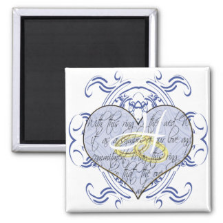 Monogram Wedding Vow Heart Square Magnet