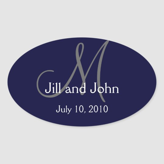Monogram Wedding Wine Label Sticker Navy
