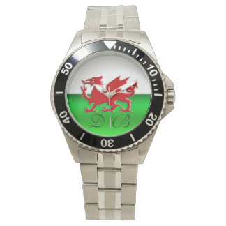 Monogram Welsh Flag, embossed dragon chrome-effect Watch
