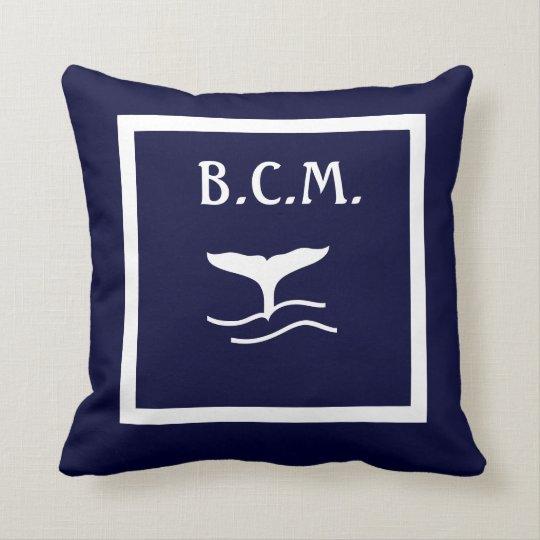 monogram WHALE TAIL ANCHORS WHITE on BLUE Cushion