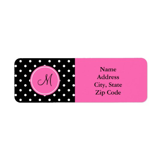Monogram White and Black Polka Dot Pattern