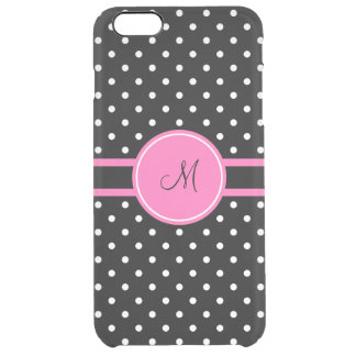 Monogram White and Black Polka Dot Pattern Clear iPhone 6 Plus Case