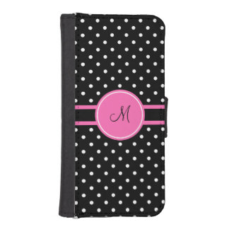 Monogram White and Black Polka Dot Pattern iPhone SE/5/5s Wallet Case