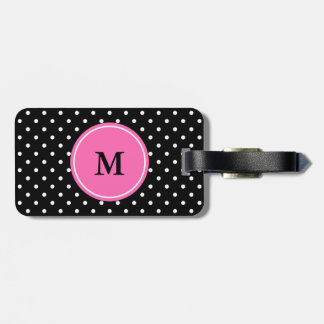 Monogram White and Black Polka Dot Pattern Luggage Tag