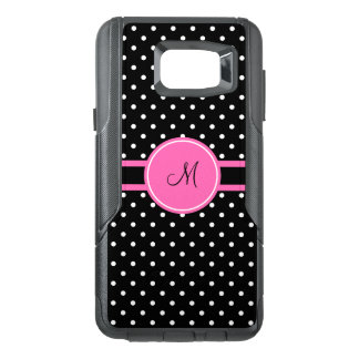Monogram White and Black Polka Dot Pattern OtterBox Samsung Note 5 Case