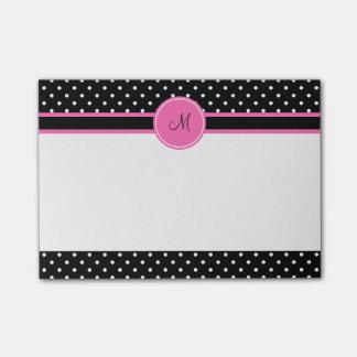 Monogram White and Black Polka Dot Pattern Post-it Notes