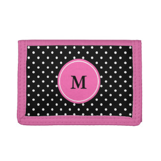 Monogram White and Black Polka Dot Pattern Trifold Wallet