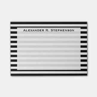Monogram White and Black Stripe Post-it Notes