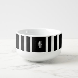Monogram White and Black Stripe Soup Mug