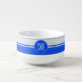 Monogram White and Bright Blue  Polka Dots Pattern Soup Mug