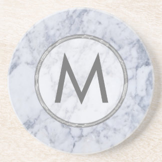 Monogram White And Gray Marble Stone Texture Coaster