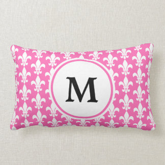Monogram White and Hot Pink Fleur de Lis Pattern Lumbar Cushion