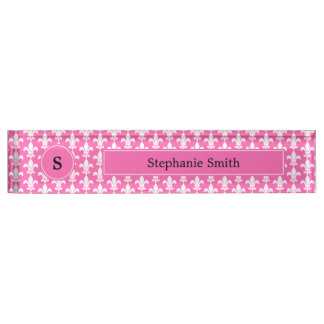 Monogram White and Hot Pink Fleur de Lis Pattern Nameplate