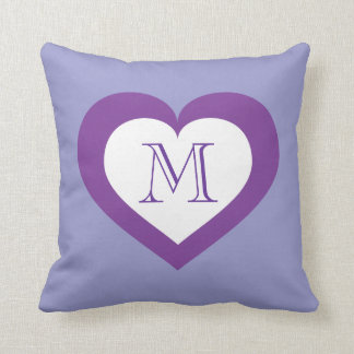Monogram white and purple heart throw pillow