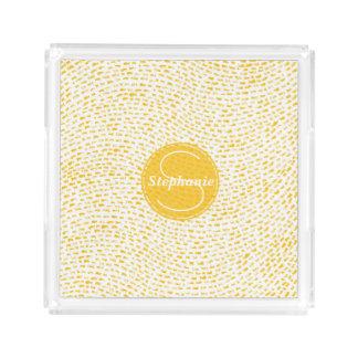 Monogram White and Yellow Dashes