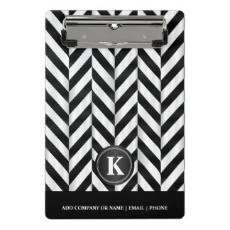 Monogram White & Black Herringbone Pattern Mini Clipboard