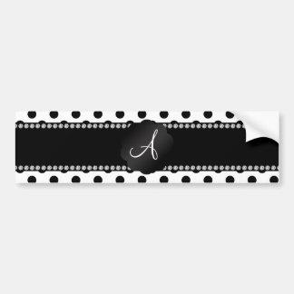 Monogram white black polka dots bumper sticker